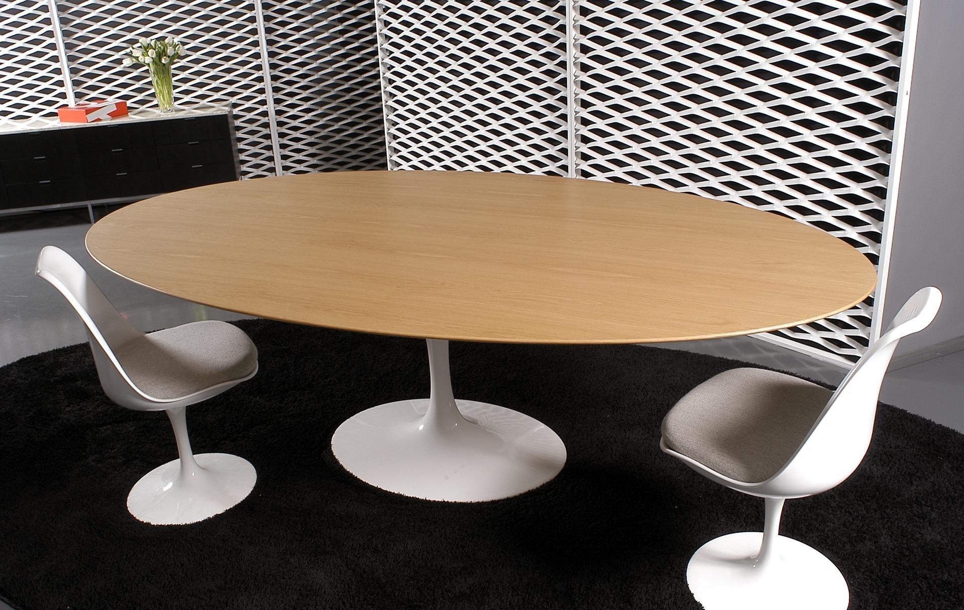 Tulipe Elliptical Dinning Table By Eero Saarinen White Oak  # Muebles Eero Saarinen